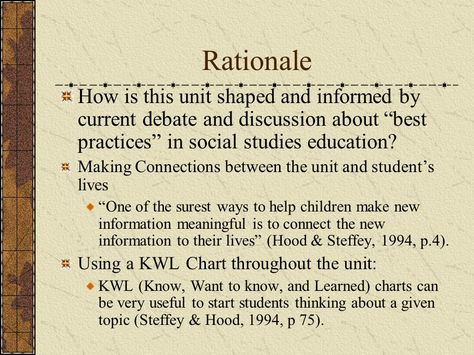 Rationale How is this unit shaped and informed by current debate and discussion about best practices in social studies education
