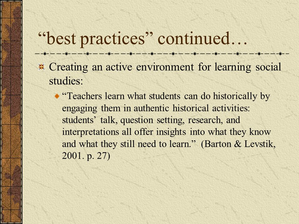 best practices continued…