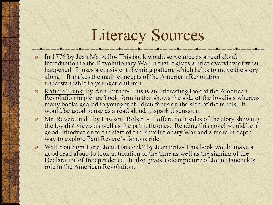 Literacy Sources