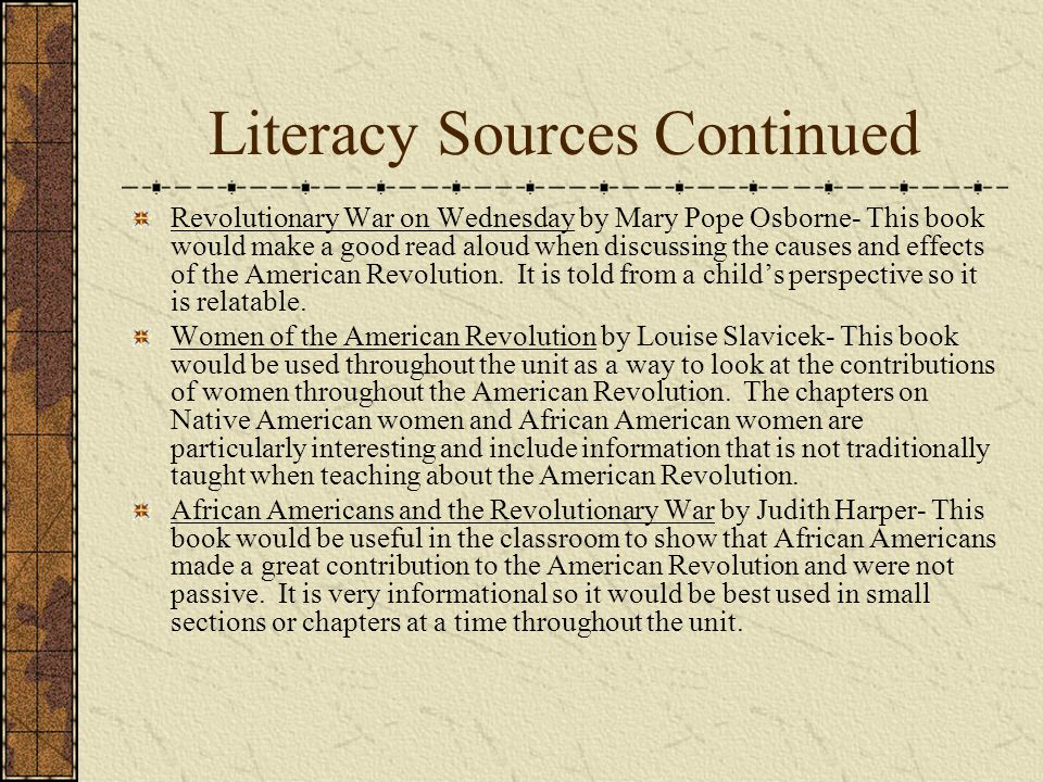 Literacy Sources Continued
