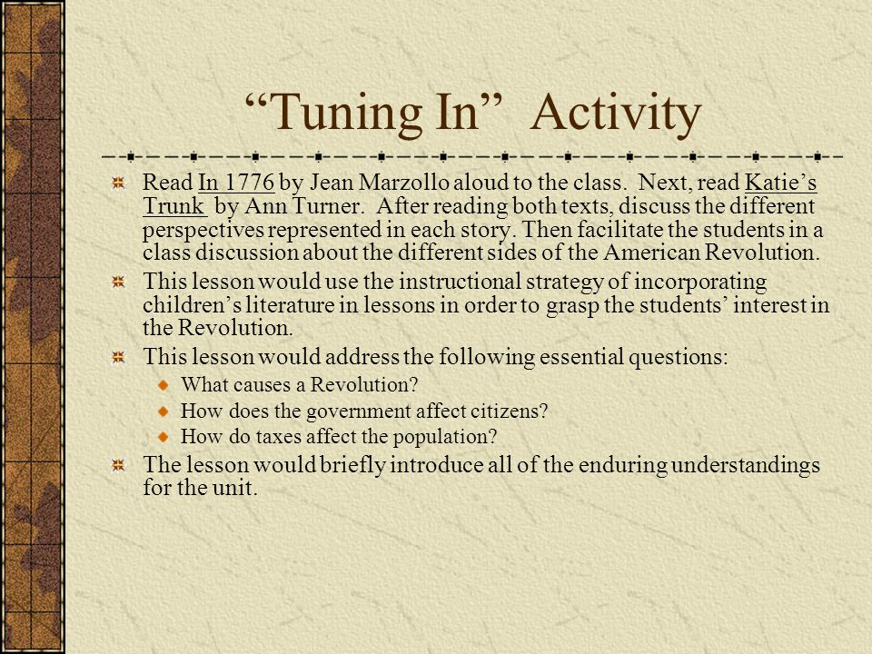 Tuning In Activity