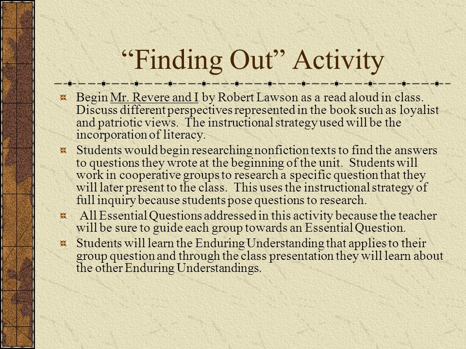 Finding Out Activity