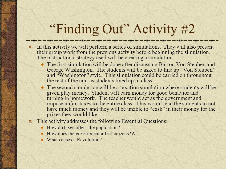 Finding Out Activity #2