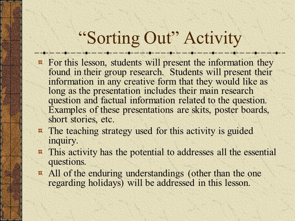 Sorting Out Activity