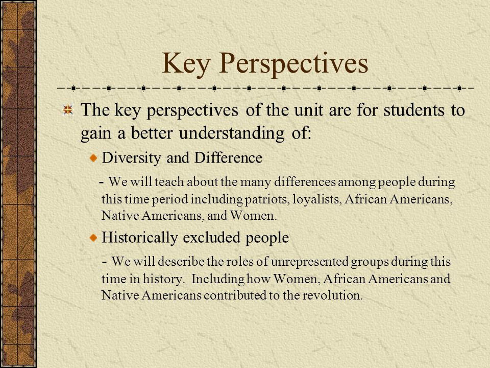 Key Perspectives The key perspectives of the unit are for students to gain a better understanding of: