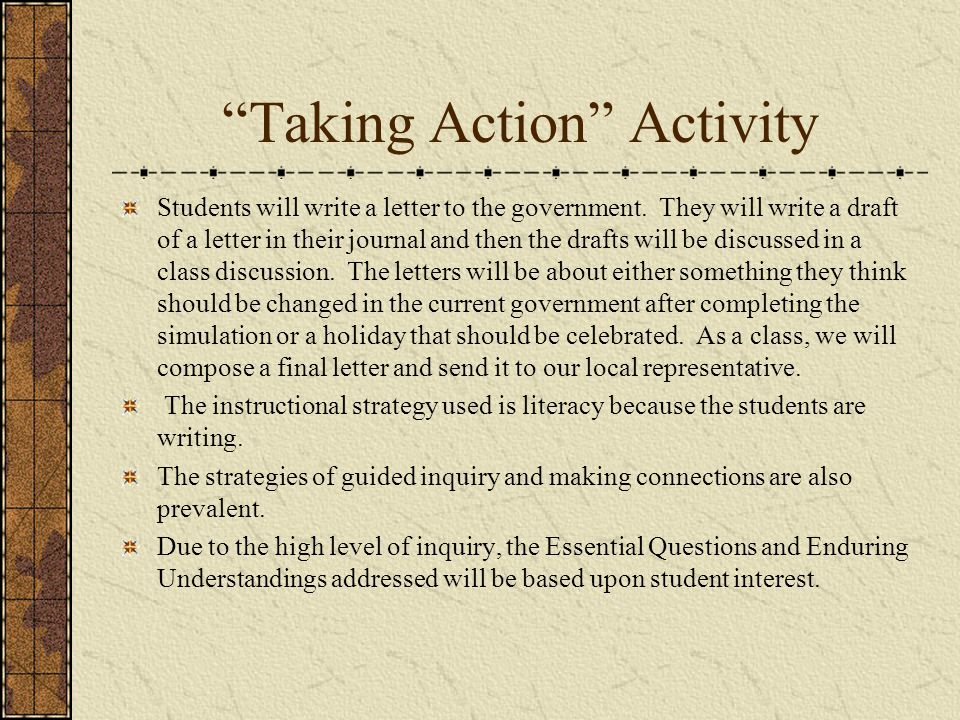 Taking Action Activity