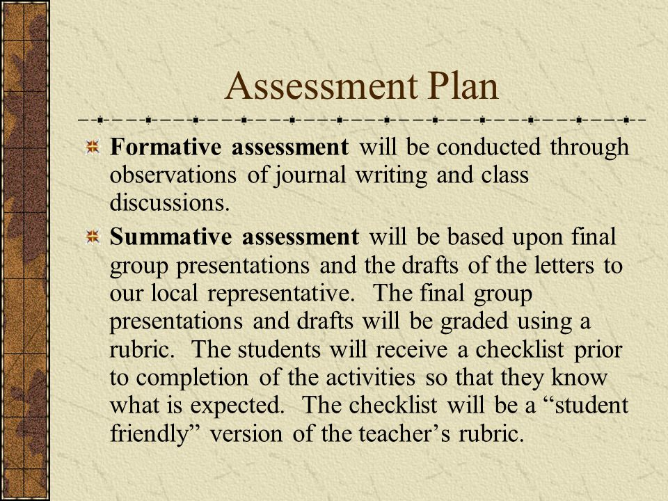 Assessment Plan Formative assessment will be conducted through observations of journal writing and class discussions.