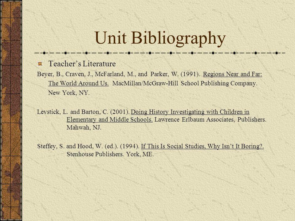 Unit Bibliography Teacher's Literature