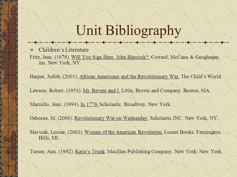 Unit Bibliography Children's Literature