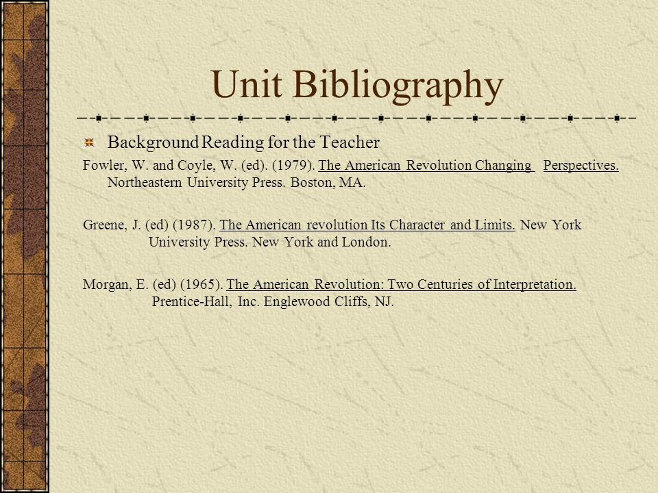 Unit Bibliography Background Reading for the Teacher