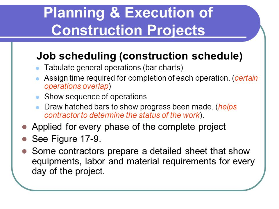 Planning & Execution of Construction Projects