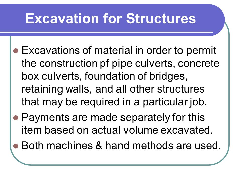 Excavation for Structures