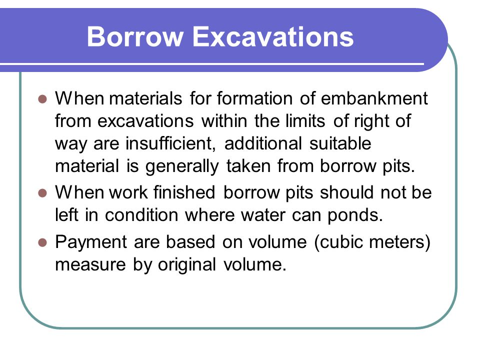 Borrow Excavations