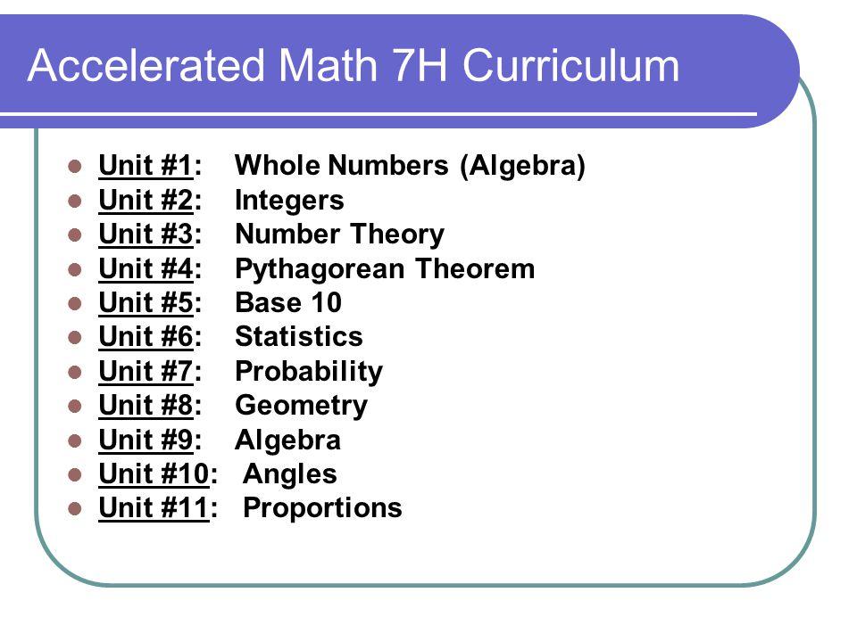 Accelerated Math 7H Curriculum
