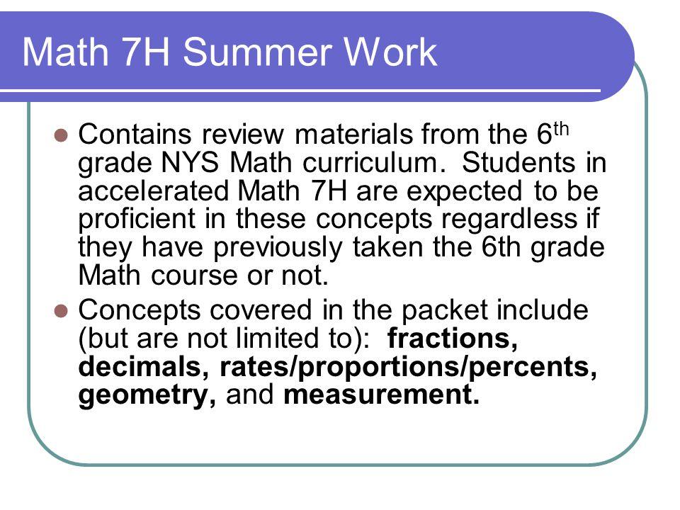Math 7H Summer Work