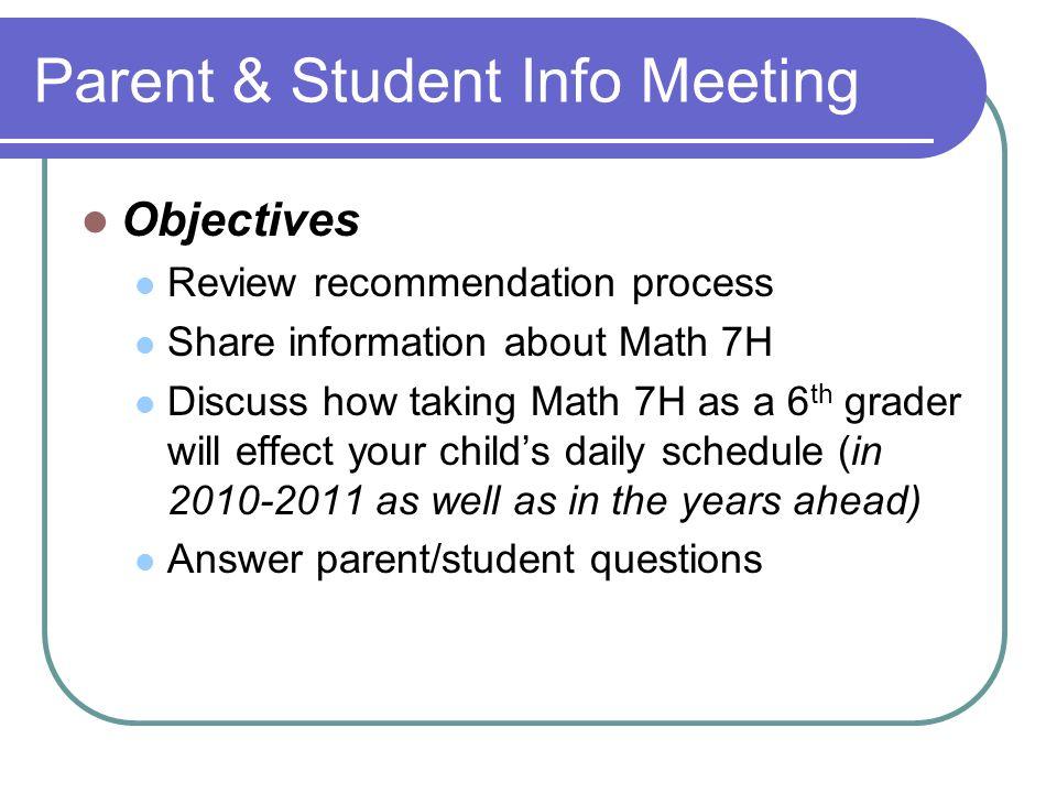 Parent & Student Info Meeting