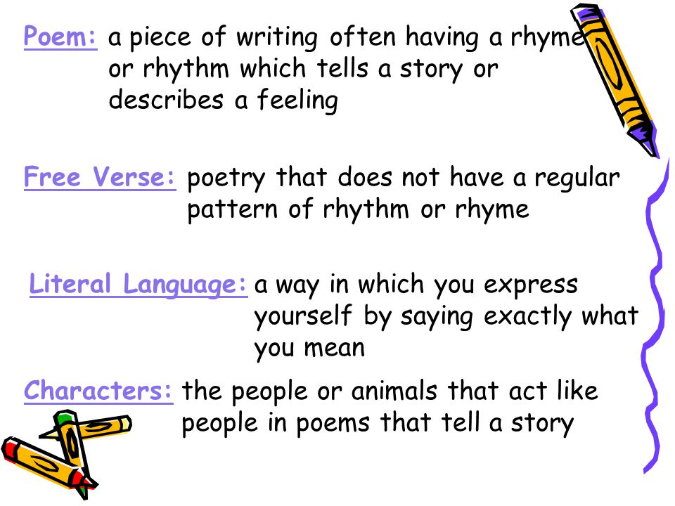 Poem: a piece of writing often having a rhyme. or rhythm which tells a story or. describes a feeling.