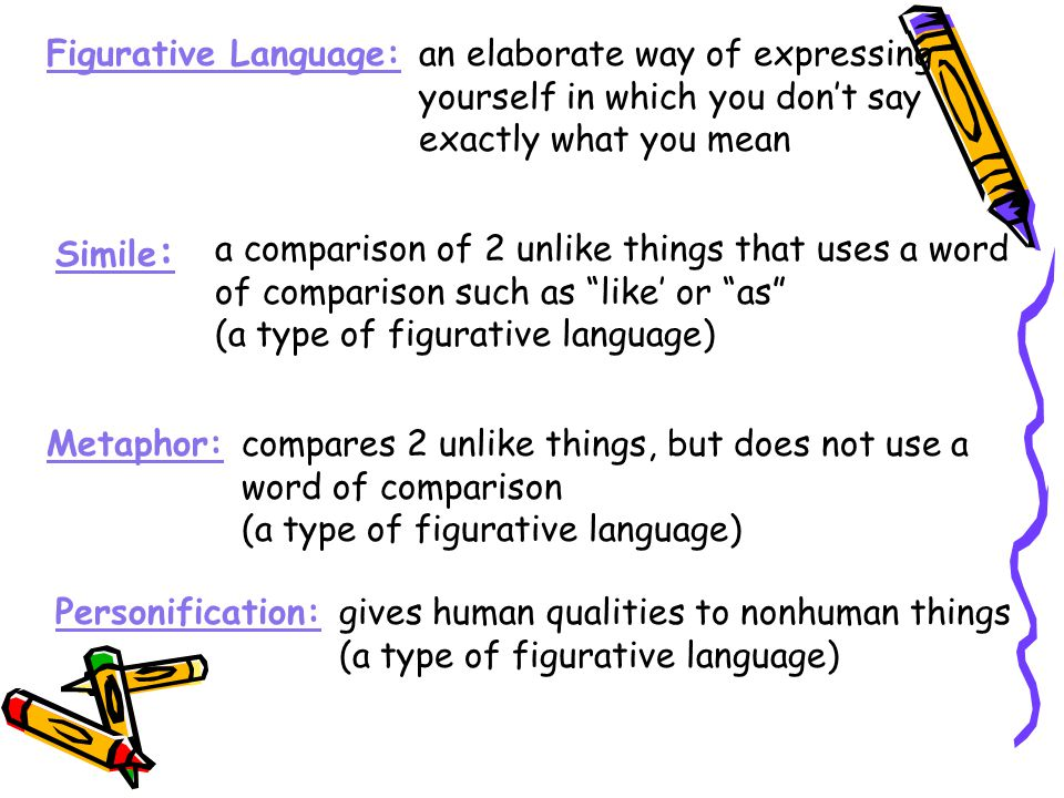 Figurative Language: an elaborate way of expressing. yourself in which you don't say. exactly what you mean.