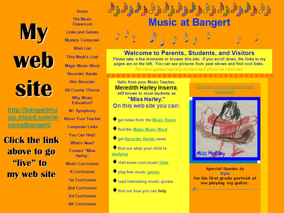 My web site Music at Bangert Click the link above to go live to