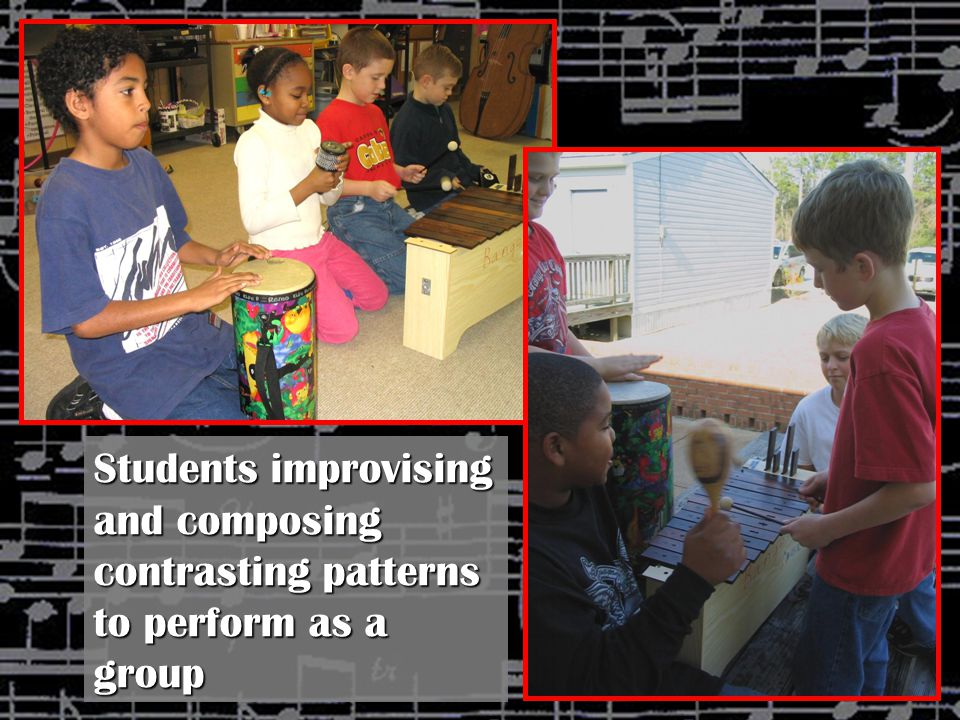 Students improvising and composing contrasting patterns to perform as a group