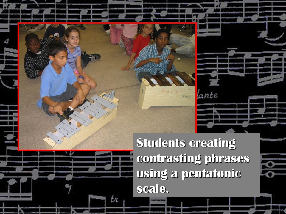 Students creating contrasting phrases using a pentatonic scale.