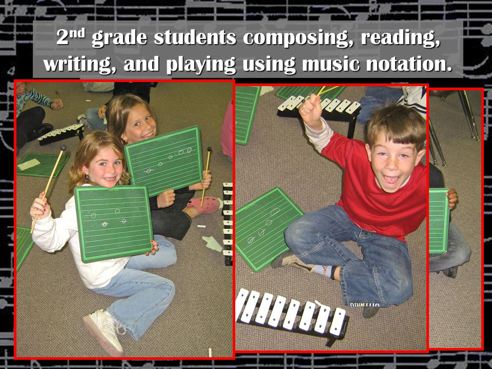 2nd grade students composing, reading, writing, and playing using music notation.