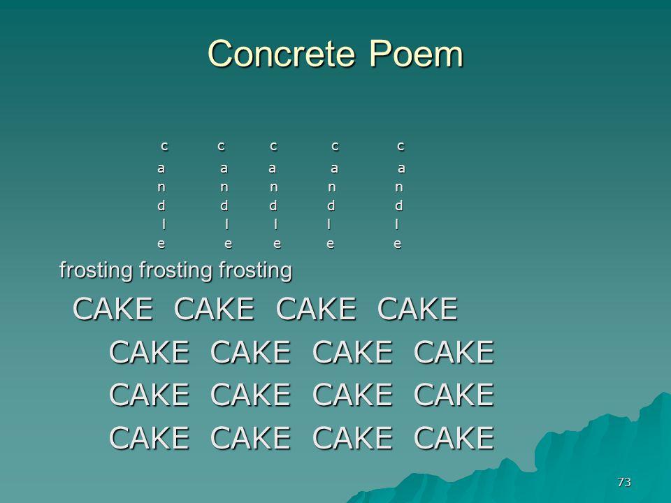 Concrete Poem c c c c c frosting frosting frosting CAKE CAKE CAKE CAKE