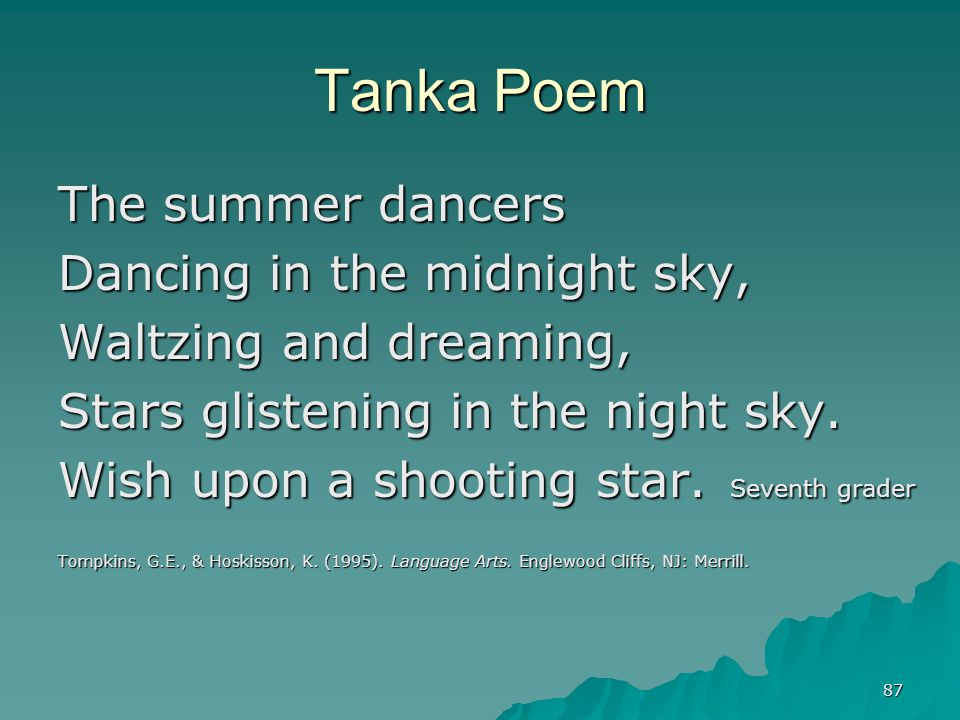 how to write a tanka poem Tanka: how to write an ancient japanese poetic form in contemporary english the short japanese forms are some of the best ways to capture image, feeling, and a sense of what is fleeting in human life the tanka is the original japanese poetry form, older than the haiku like all.