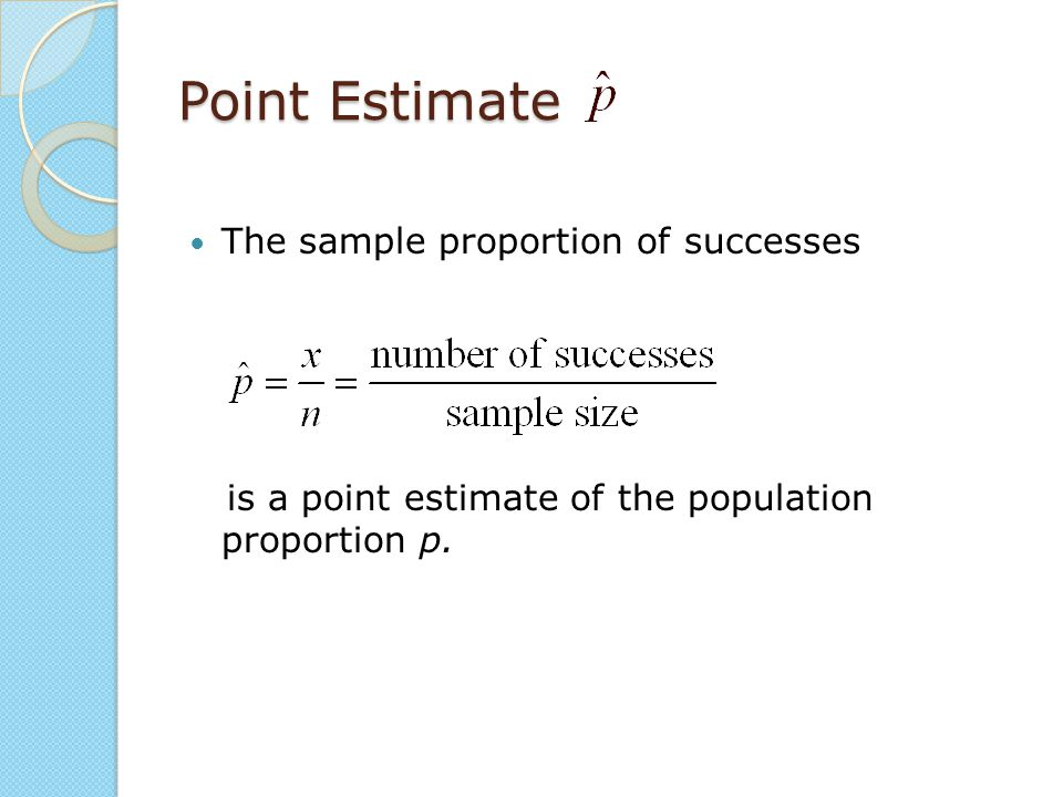 Point Estimate The sample proportion of successes