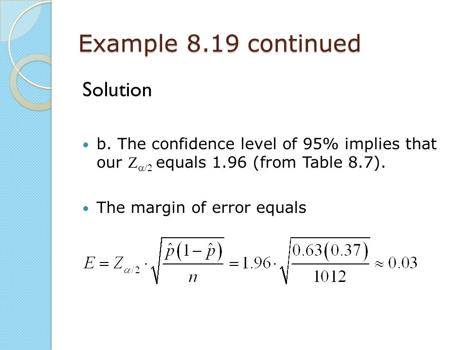 Example 8.19 continued Solution