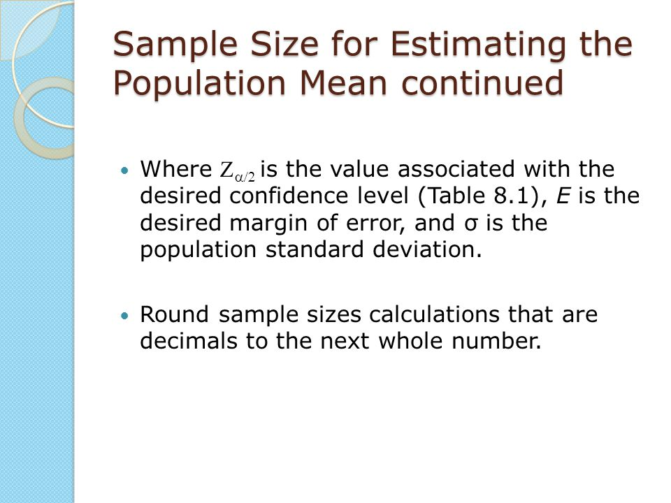 Sample Size for Estimating the Population Mean continued