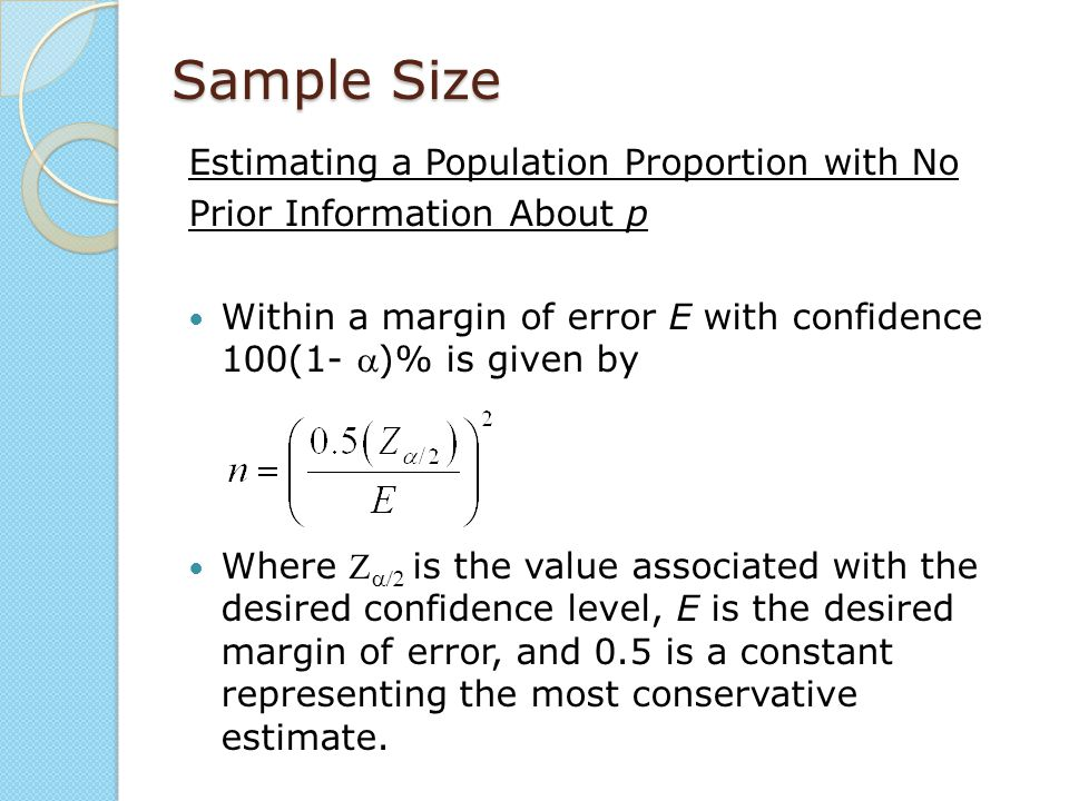 Sample Size Estimating a Population Proportion with No