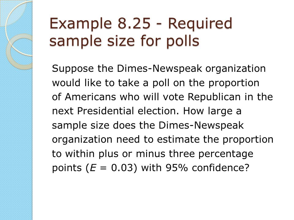 Example 8.25 - Required sample size for polls
