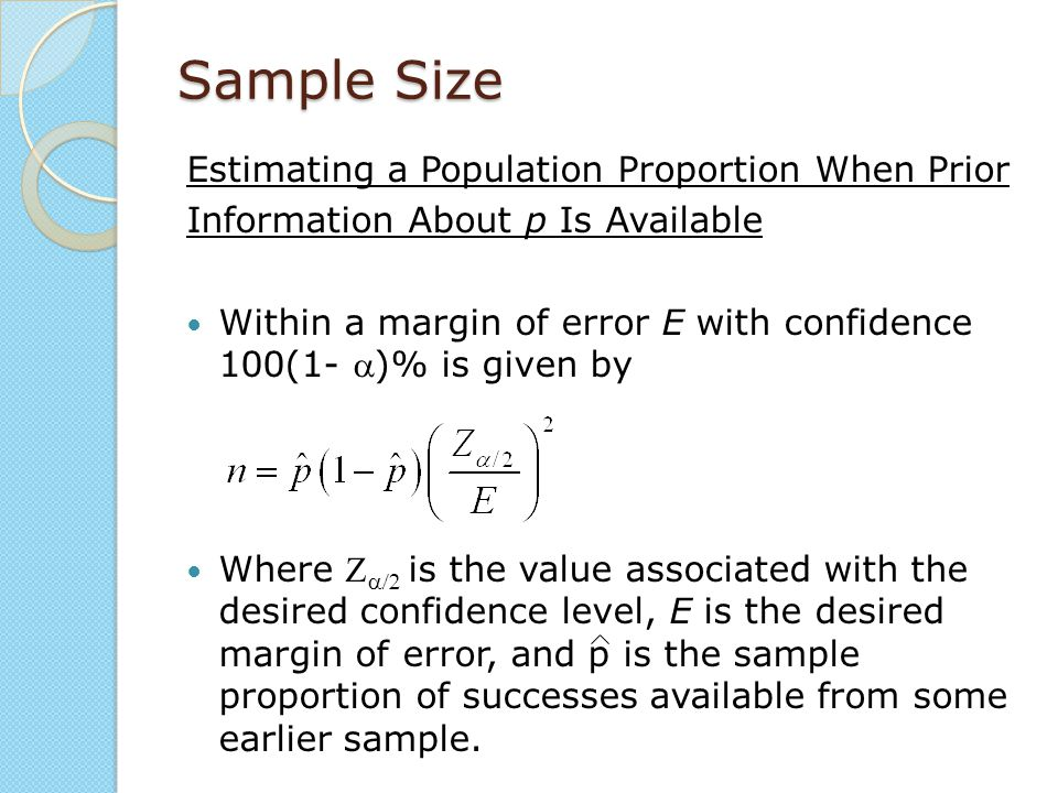 Sample Size Estimating a Population Proportion When Prior