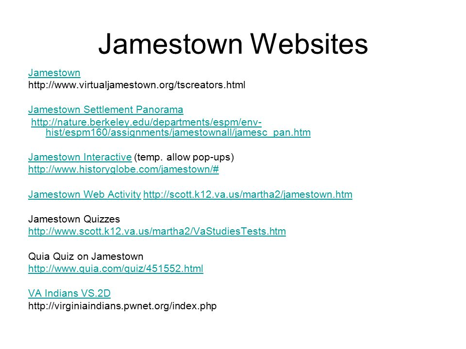 Jamestown Websites Jamestown