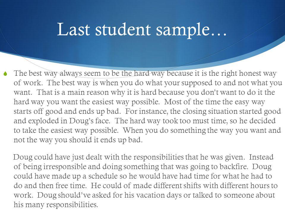 Last student sample…
