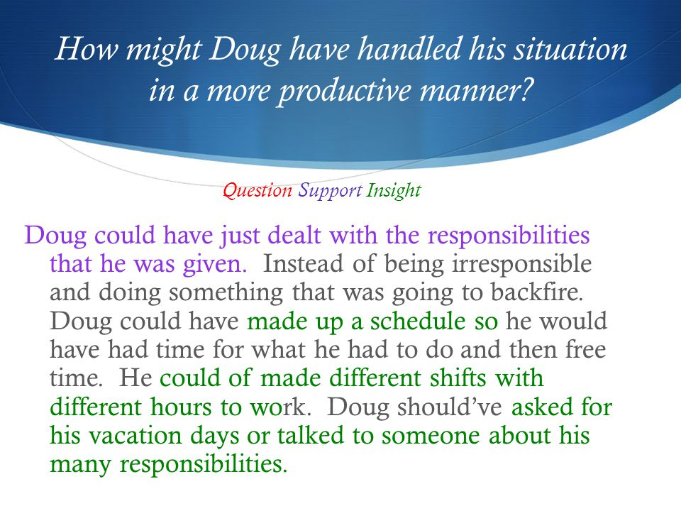 How might Doug have handled his situation in a more productive manner