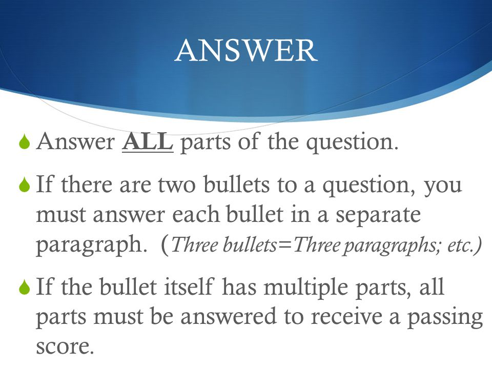ANSWER Answer ALL parts of the question.