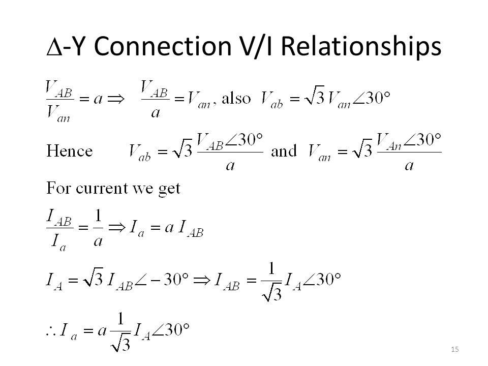 D-Y Connection V/I Relationships