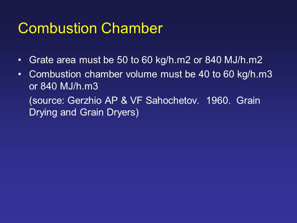 Combustion Chamber Grate area must be 50 to 60 kg/h.m2 or 840 MJ/h.m2