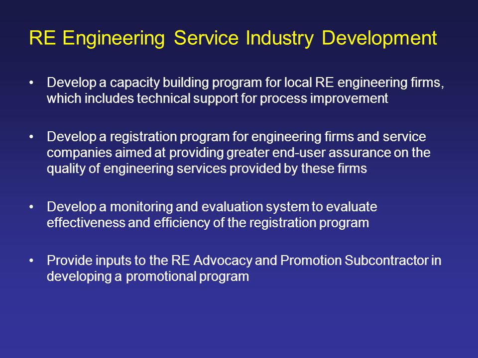 RE Engineering Service Industry Development
