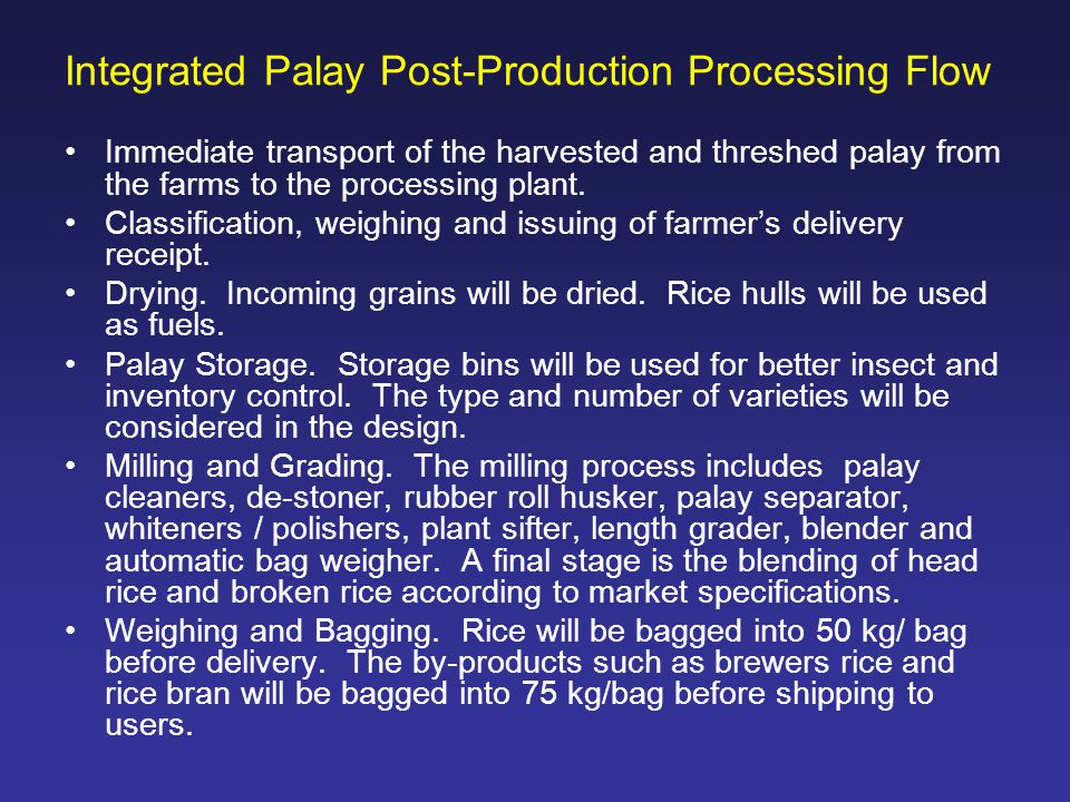 Integrated Palay Post-Production Processing Flow