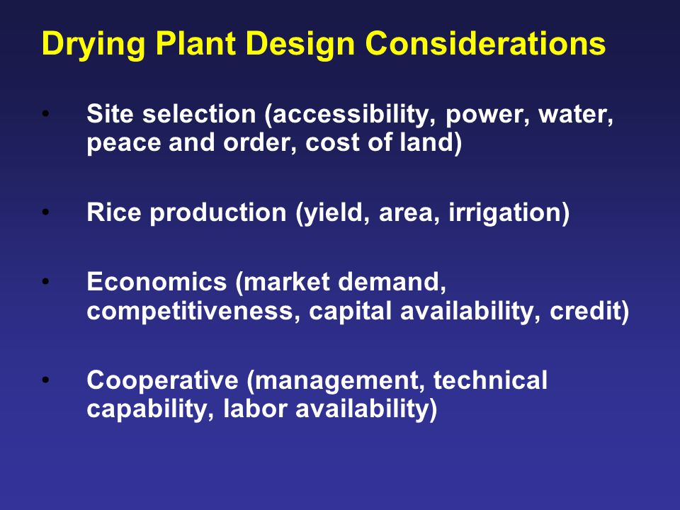 Drying Plant Design Considerations