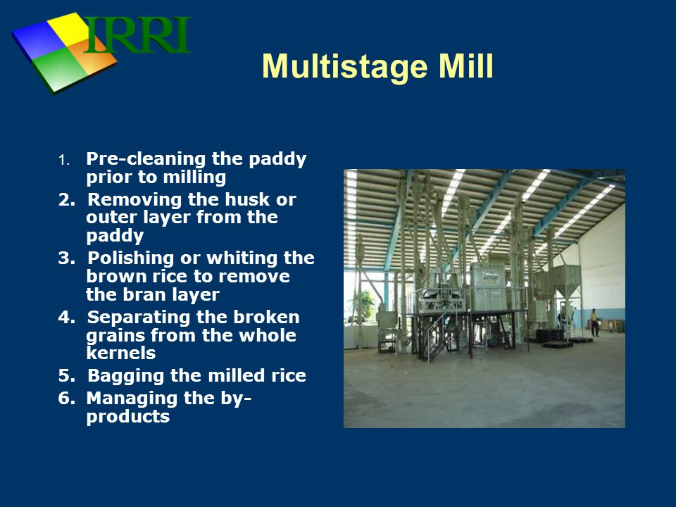 Multistage Mill 2. Removing the husk or outer layer from the paddy