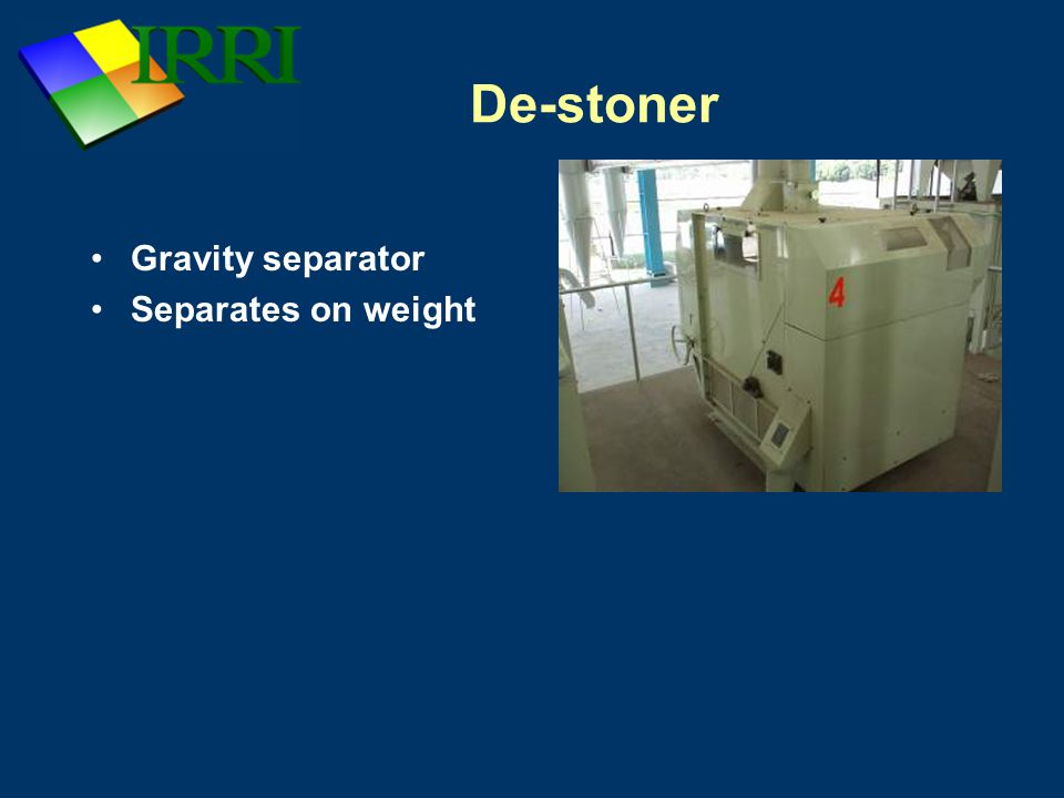 De-stoner Gravity separator Separates on weight