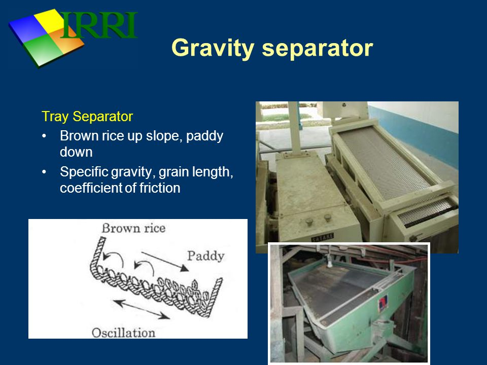 Gravity separator Tray Separator Brown rice up slope, paddy down