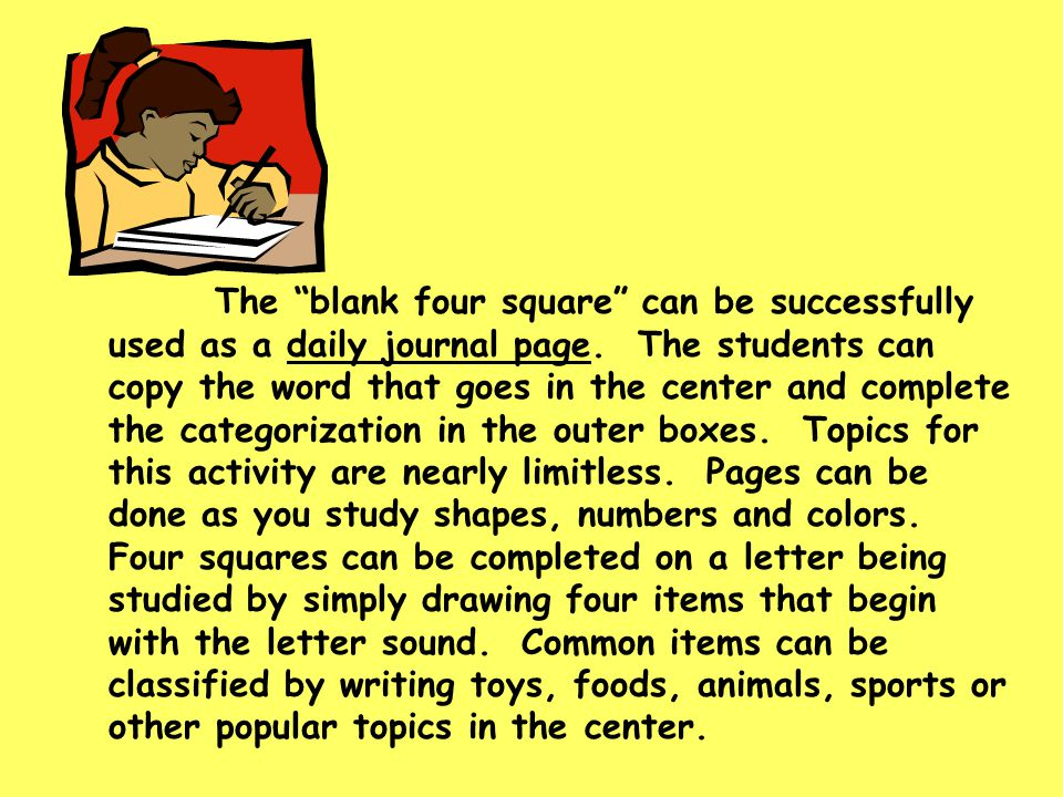The blank four square can be successfully used as a daily journal page.
