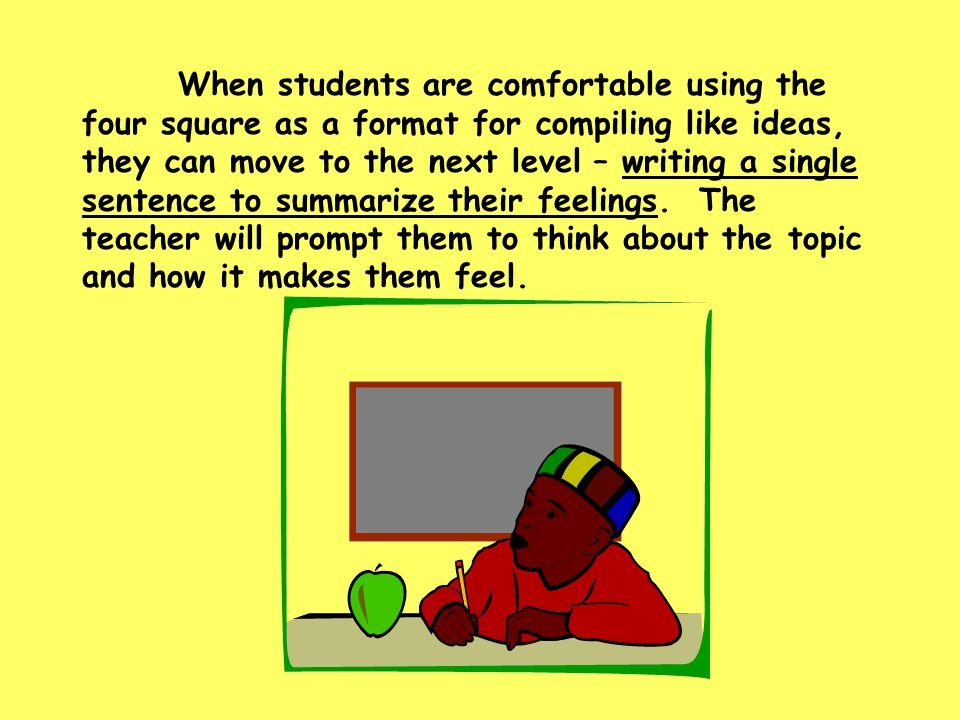 When students are comfortable using the four square as a format for compiling like ideas, they can move to the next level – writing a single sentence to summarize their feelings.