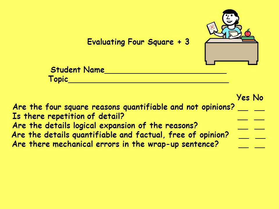Evaluating Four Square + 3 Student Name_________________________ Topic_________________________________ Yes No Are the four square reasons quantifiable and not opinions.