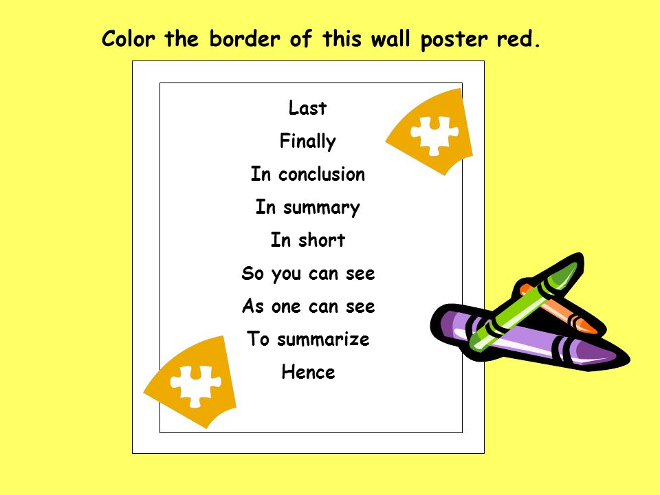 Color the border of this wall poster red.
